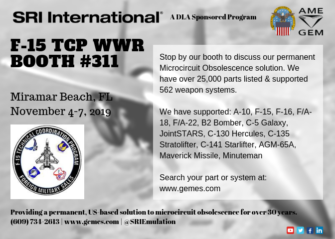 SRI Booth Invitation for the F-15 TCP WWR 2019